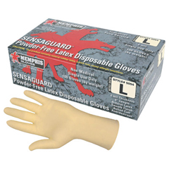 CRW127-5054M - Memphis GloveSensaguard Disposable Latex Gloves, Powder Free; Textured, 4 Mil, Medium, Beige