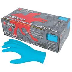 CRW127-6015M - Memphis GloveNitrishield Gloves, Rolled Cuff, Medium, Blue