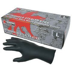 CRW127-6062L - Memphis GloveNitrishield Stealth Extra Gloves, Rolled Cuff, Large, Black