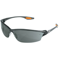 CRW135-LW212 - CrewsLaw 2 Protective Eyewear, Black/Gray W/Orange Temple Inserts