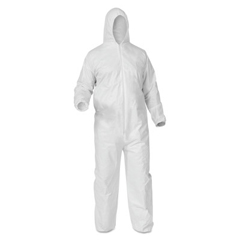 KIM138-38950 - Kimberly Clark Professional - KleenGuard® A35 Coveralls, Zip Front, Elastic Wrist/Ankle, Hood/Boots, White, 2XL