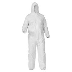 KIM138-38942 - Kimberly Clark ProfessionalKleenGuard® A35 Coveralls, Zipper Front, Elastic Wrists/Ankles, Hood, White, 3XL