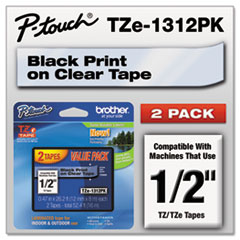 BRTTZE1312PK - Brother® P-Touch® TZ/TZe Series Standard Adhesive Laminated Labeling Tape