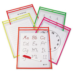 CLI40820 - C-Line Products - Reusable Dry Erase Pockets, Assorted, 9 x 12