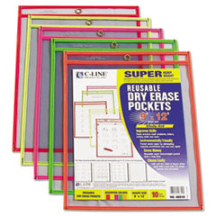 CLI40810 - C-Line Products - Reusable Dry Erase Pockets, Assorted, 9 x 12