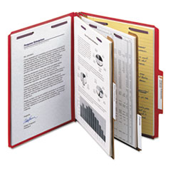 SMD14031 - Smead® 6-Section Colored Pressboard Top Tab Classification Folders with SafeSHIELD™ Coated Fastener