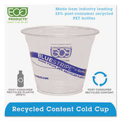 ECOEPCR9 - Eco-Products® BlueStripe™ Recycled Content Clear Plastic Cold Drink Cups
