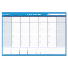 AAGPM33328 - 30/60-Day Undated Horizontal Erasable Wall Planner, 48 x 32, White/Blue,