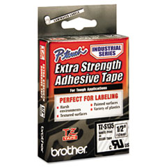 BRTTZES135 - P-Touch® TZ/TZe Series Extra-Strength Adhesive Laminated Labeling Tape White on Clear