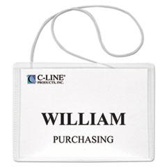 CLI96043 - C-Line Products - Hanging Style Name Badge Kit w/Elastic Cord, Sealed w/Inserts, 4 x 3