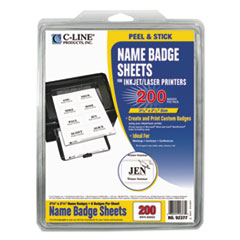CLI92377 - C-Line ProductsLaser Printer Name Badges, White, 8/Sheet, 3 3/8 x 2 1/3
