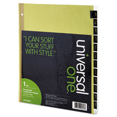 UNV20823 - Universal® Preprinted Simulated Leather Tab Dividers with Gold Printing