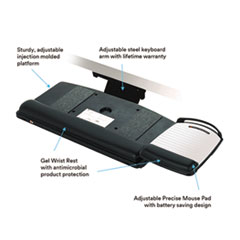 MMMAKT150LE - 3M Easy Adjust Keyboard Tray with Removable Mouse Tray