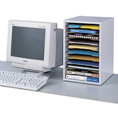 SAF9419MO - Wood Vertical Desktop Sorter, 11 Sections 10 5/8 x 11 7/8 x 16, Medium Oak