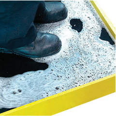CWN284-BD3239YB - Crown MatsDisinfectant Booth Bath Mats, 32 In X 39 In, 2 In, Rubber, Black/Yellow Border