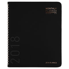 AAG70260X05 - Contemporary Monthly Planner, Premium Paper, 11 x 8 7/8, Black Cover, 2020