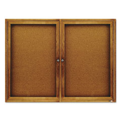 QRT364 - Quartet® Enclosed Indoor Cork Bulletin Board with Hinged Doors