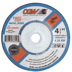 CGW421-36259 - CGW AbrasivesDepressed Center Wheel, 6 In Dia, 1/4 In Thick, 7/8 Arbor, 24 Grit, Alum. Oxide