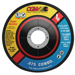 CGW421-70095 - CGW Abrasives - Cut/Grind Combo Wheel, 4 1/2 In Dia, .075 In Thick, 5/8 In Arbor, 46 Grit