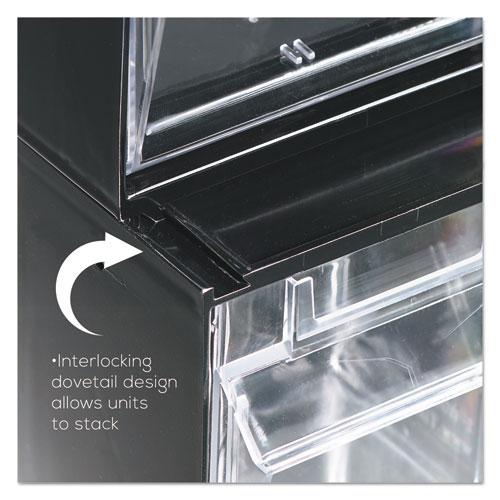 Deflect O Tilt Bin Plastic Storage System W 6 Bins 23 5 8 X 3 4 1 2 Black