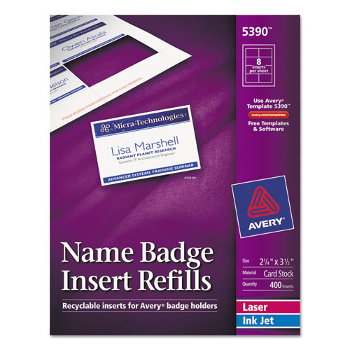 Bettymills avery name badge inserts avery 5390 for Name badge label template