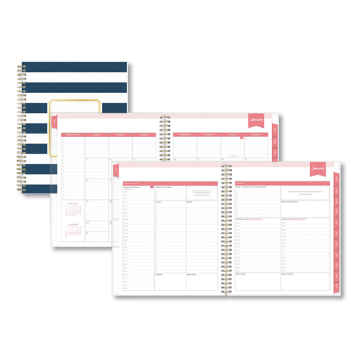 graphic relating to Daily Designer identify Working day Designer Every day/Every month Planner, 10 x 8, Armed service/White, 2020