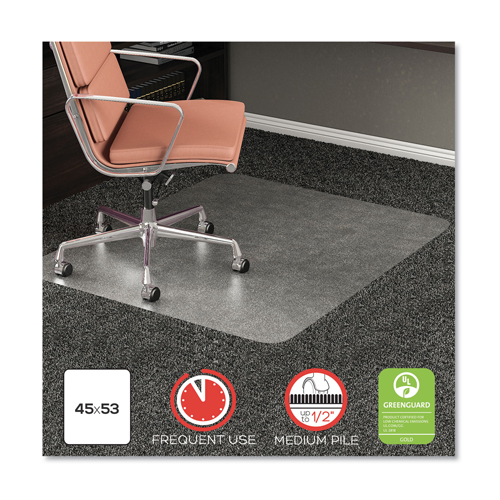 Rollamat Frequent Use Chair Mat For High Pile Carpet 45 X 53 Clear