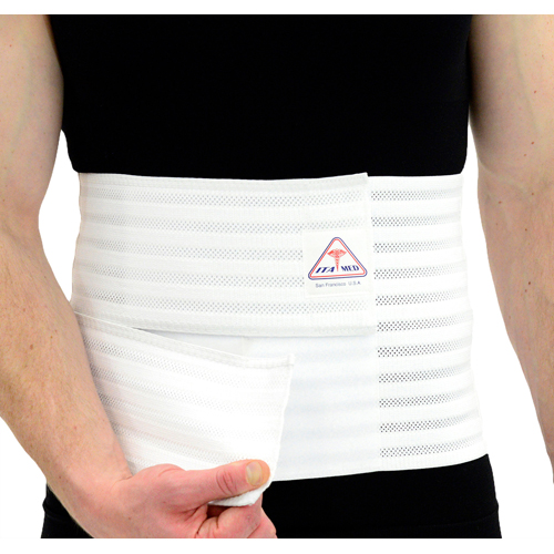Ita Med Breathable Elastic Abdominal Binder For Men 9 Wide White Small