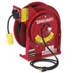 RLC523-L45451233 - ReelcraftHeavy Duty Power Cord Reels, 12/3 Awg, 15 A, 45 Ft, Single Receptacle