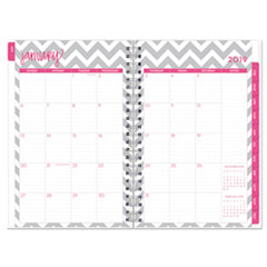 BLS102133 - Dabney Lee Ollie Weekly/Monthly Wirebound Planner, 8 x 5, Gray/White, 2019