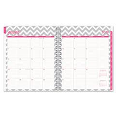 BLS102130 - Dabney Lee Ollie Monthly Wirebound Planner, 10 x 8, Gray/White, 2019
