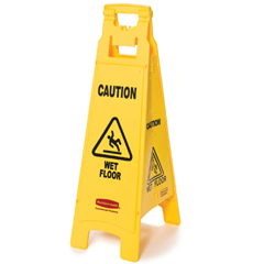 RCP6114-77YEL - Caution Wet Floor 4-Sided Floor Sign