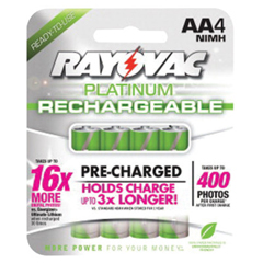RYV620-PL715-4 GENB - RayovacPlatinum Pre-Charged Rechargeable Batteries, Nimh, Aa, 4 Per Pack