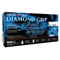 ANS748-MF-300-S - AnsellDiamond Grip Disposable Gloves, Latex, Finger-2 mm; Palm-16 mm, Small, Natural