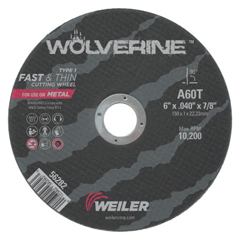 WEI804-56282 - WeilerLarge Type 1 Reinforced Wheel, 6 In Dia, .04 In Thick, 60 Grit Aluminum Oxide