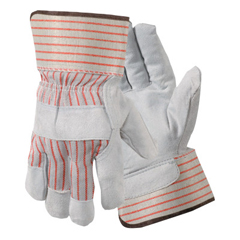 WLL815-Y3201L - Wells LamontStandard Shoulder Split Leather Gloves, Large, Red Stripes/Gray