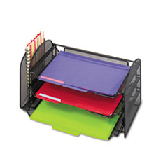 SAF3265BL - Safco® Onyx™ Mesh Desk Organizer with One Vertical/Three Horizontal Sections