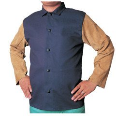 BWL902-1201-M - Best WeldsLeather/Sateen Combo Jacket, Medium, Blue/Tan