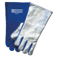 BWL902-42AL - Best WeldsSplit Cowhide Front Welding Gloves, Aluminized Back, Large, Blue Front