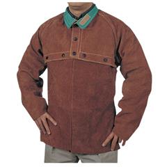 BWL902-650-L - Best WeldsSplit Cowhide Cape Sleeves, 14 In Long, Snaps Closure, Large, Lava Brown