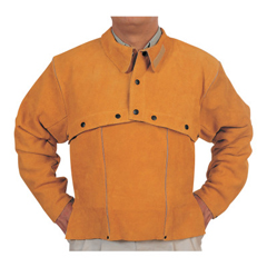 BWL902-Q-2-M - Best Welds - Leather Cape Sleeves, Snaps Closure, Medium, Golden Brown