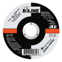 BEE903-4121878 - Bee LineDepressed Center Grinding Wheel, 4 1/2 Dia, 1/8 Thick, 7/8 Arbor, 36 Grit