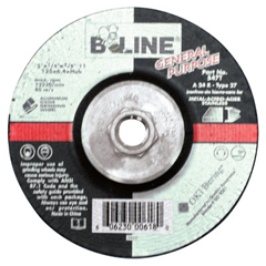 BEE903-547T - Bee LineDepressed Center Grinding Wheel, 5 Dia, 1/4 Thick, 5/8-11 Arbor, 24 Grit