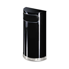 RCPSO820BPL - United Receptacle European & Metallic Series 9-Gallon Half-Round Fire-Safe Steel Waste Receptacle