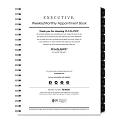 AAG7091110 - Executive Weekly/Monthly Planner Refill, 15-Minute, 10 7/8 x 8 1/4, 2020