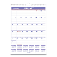AAGPM128 - AT-A-GLANCE® Monthly Wall Calendar with Ruled Daily Blocks