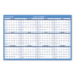 AAGPM20028 - Horizontal Erasable Wall Planner, 36 x 24, Blue/White, 2021