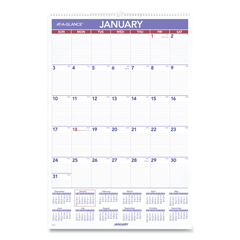AAGPM428 - AT-A-GLANCE® Monthly Wall Calendar with Ruled Daily Blocks