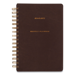 AAGYP20009 - Signature Collection Distressed Brown Weekly Monthly Planner, 8.5 x 5.5, 2021-2022