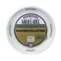 AJMCP9GOAWH - Gold Label Coated Paper Plates